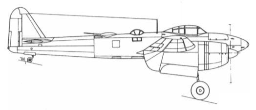 Боковая проекция тяжелого истребителя Aichi S1A1