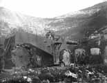 Obice 305/17 mod.1917 на огневой позиции в Альпах, 1917 г.