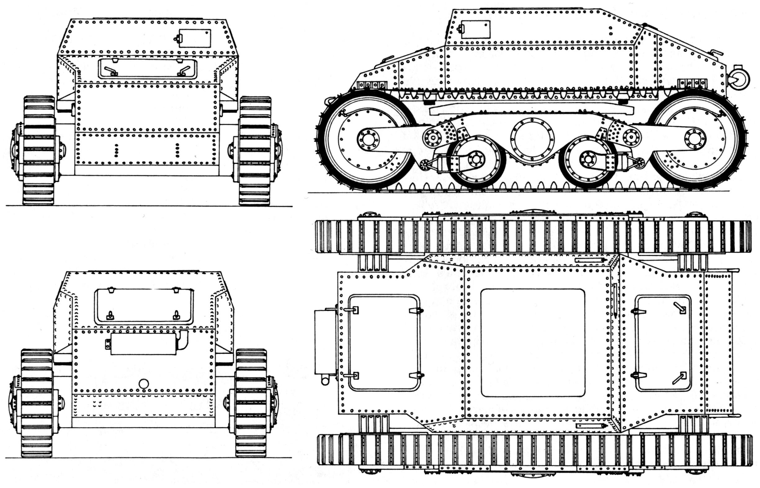 Схема опытного танка Straussler V-3
